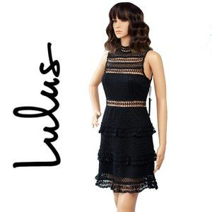 Lulus Name of Love Black Lace Dress Size M